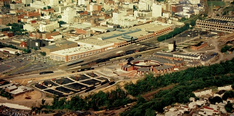 "Steamtown NHS  - aerial overviewThis aerial overview of Steamtown NHS, which was created within the former railyards of the Delaware, Lackawanna & Western ""Scranton Yards"""