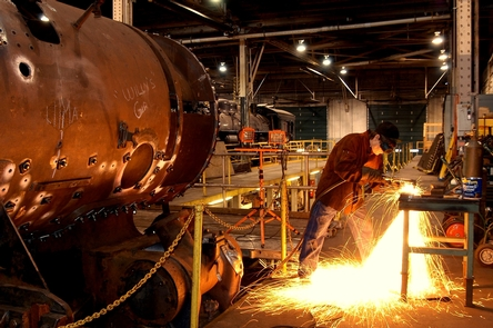 Sparks flyVisitors can observe locomotive maintenance and repairs taking place in the Locomotive Shops on a guided tour