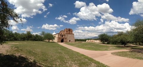 Tumacácori on a Summer DayA summer day yields beautiful colors and a striking scene on the mission grounds.