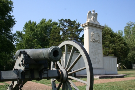 Tupelo National Battlefield MonumentIn July, 1864, Union forces, including men from the United States Colored Troops, marched into Tupelo, Mississippi.  Disorganized Confederate soldiers fought fiercely but could not overpower the federal troops.  Neither side could claim a clear victory,