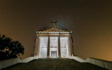 Illinois State MemorialStars gleam behind the Illinois State Memorial.