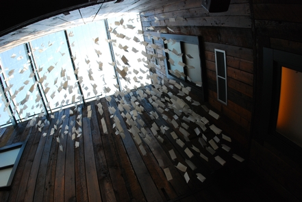"""Letter Cloud""""Letter Cloud,"" by Erin Shie Palmer, is made up of letters written by immigrants to family and friends"