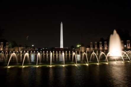 The World War II Memorial at night