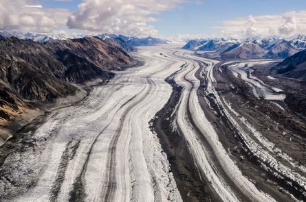 Logan GlacierWrangell-St. Elias National Park contains the greatest concentration of glaciers in North America.  More than 3000 glaciers covering over three million acres of land are found in the park.