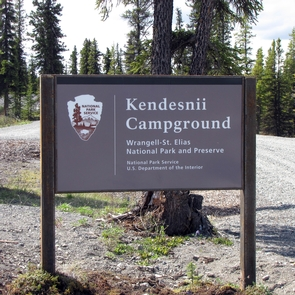 Kendesnii Campground EntranceKendesnii Campground is located off of the Nabesna Road. There is no entrance fee.