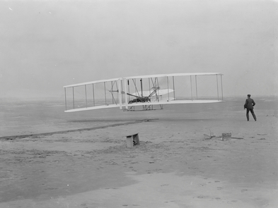 First FlightOrville takes to the air in the flyer for the first time on December 17, 1903.