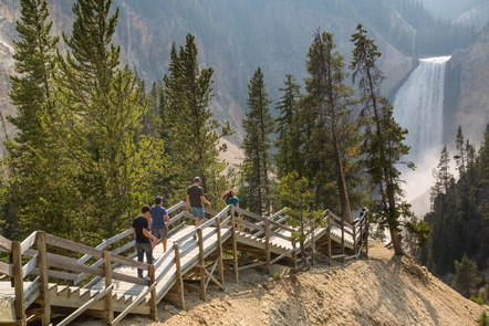 Red Rock Point of the Grand CanyonClimbing the steps to Red Rock Point in the Grand Canyon of the Yellowstone.