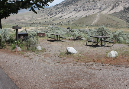 Mammoth Hot Springs Campground mainMammoth Hot Springs Campground view of sites looking north