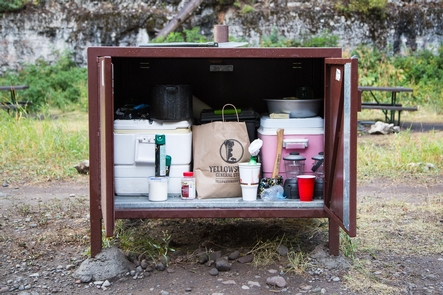 Pebble Creek Campground6Bear proof food storage at the Pebble Creek Campground