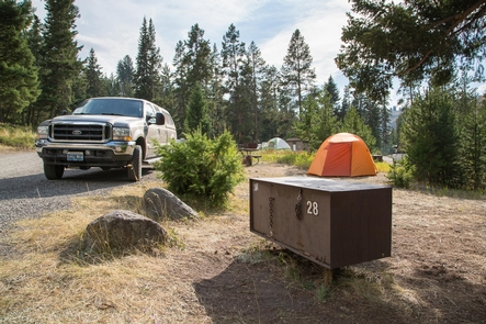 Tower Fall CampgroundCampsite with bear proof food storage at Tower Fall Campground
