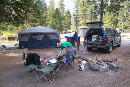 Tower Fall CampgroundSetting up camp in the Tower Fall Campground