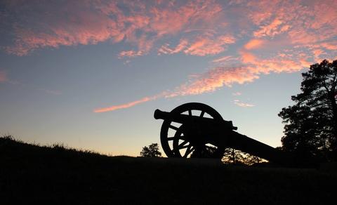 Cannon at Sunset Yorktown BattlefieldCannon on earthworks at sunset.  Yorktown Battlefield