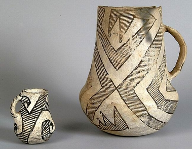 Gallup Black on White PitchersThese pitchers are another form of pottery that was created elsewhere and then brought to Chaco canyon. This particular style was manufactured from A.D. 1030 to 1150.