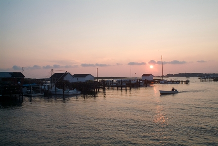 Tangier IslandAt sunset, a boater returns to the docks used by working watermen at Tangier Island.