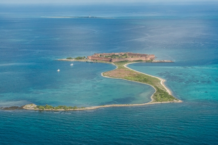 Aerial view of the Dry TortugasThe Dry Tortugas is made up of seven islands.