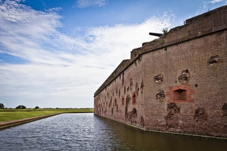 The Battered Walls of Fort PulaskiA walk along the outside of Fort Pulaski reveals damaged walls over 150 years after the Civil War.