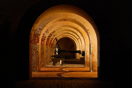 The Casemates of a FortFort Pulaski shows off its classic arched architecture and cannon.