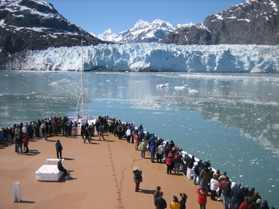 Cruising Glacier BayPassengers line the deck to enjoy the icy scene at Margerie Glacier