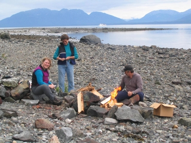 Campfire on the beachThere is one designated campfire ring along the shore.