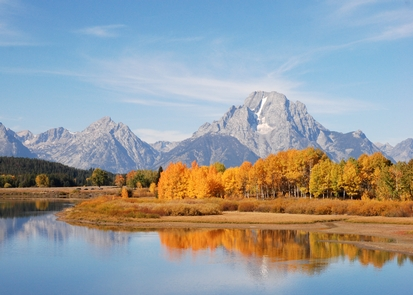 Oxbow Bend and Mount MoranMount Moran at Oxbow Bend is a classic autumn view.