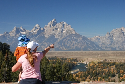 Visitors at the Snake River OverlookThe Snake River Overlook is a where Ansel Adams took his iconic image of the Teton Range.
