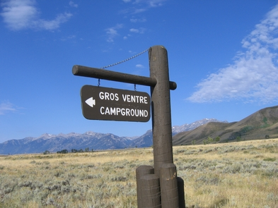 Gros Ventre Campground Welcome SignGros Ventre Campground is the largest in the park and the closest to Jackson.