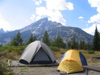 Jenny Lake Campground Mountain ViewSome campsites have mountain views at the Jenny Lake Campground