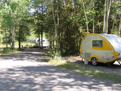 Colter Bay Campground RV siteThe campground offers camping for tents and dry camping for RVs.