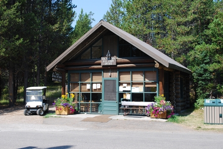 Colter Bay RV Park OfficeThe Colter Bay RV Park is situated in a lodgepole pine forest within walking distance of Jackson Lake and numerous trails. From the lakeshore, visitors will have views across Jackson Lake to Mount Moran and the northern end of the Teton Range.