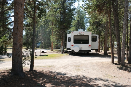 Campsite at HeadwatersThe Headwaters Campground can accommodate RVs up to 45 feet in length!