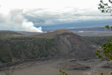 Kīlauea Iki OverlookFrom the Kīlauea Iki Overlook you can see hikers on the crater floor, Pu'u Pua'i Cinder Cone, & Halema'uma'u in the background