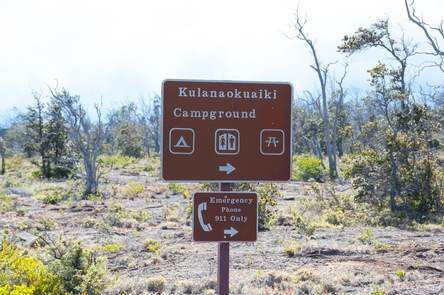 Kulanaokuaiki Campground SignSign marks the entrance to Kulanaokuaiki Campground