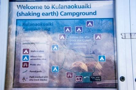 Kulanaokuaiki CampgroundOn-site sign with map of campground