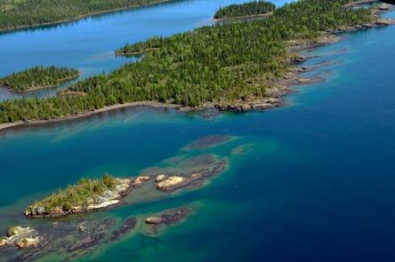 Aerial View of West Caribou IslandAerial view of West Caribou Island.