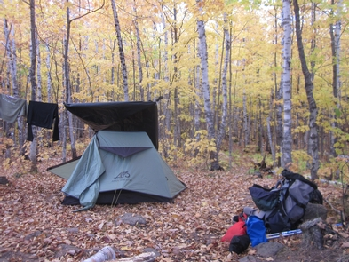Campsite at North Lake Desor Campground in FallNorth Lake Desor Campground is a beautiful location to stay at in the fall.