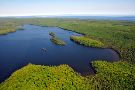 Aerial View of Lake DesorLake Desor is the second largest inland lake at Isle Royale National Park.