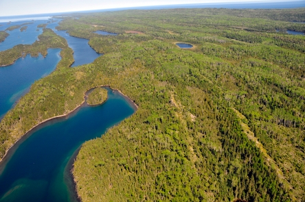 Aerial View of Herring Bay and Pickerel CoveAerial view of the blue waters of Herring Bay and Pickerel Cove.