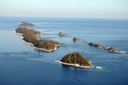 Aerial View of Tookers Island and Shaw Island in WinterAerial View of Tookers Island and Shaw Island in Rock Harbor Channel in winter.