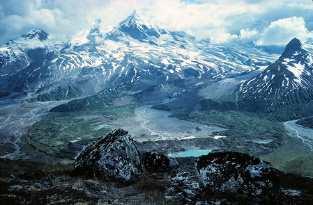 Redoubt VolcanoLake Clark is a land of fire and ice. Active volcanism and retreating glaciers created and continue to shape the peaks, moraines, and river systems in the Chigmit and Neacola Mountains.