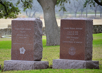 Gravestones for Lyndon and Lady Bird JohnsonPink granite headstones mark the graves of President Lyndon Johnson and First Lady Lady Bird Johnson