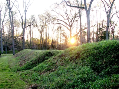 Earthworks at Fort HarrisonEarthworks like these at Fort Harrison can be found throughout the park