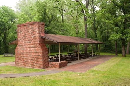 Houchin Ferry Campground - Picnic ShelterHouchin Ferry Campground also offers an open-air picnic shelter with a fireplace.