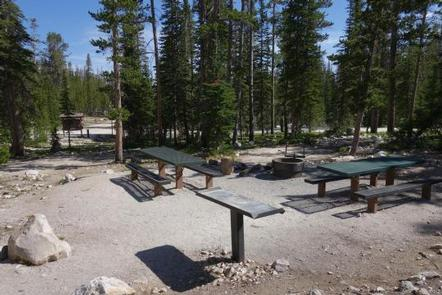 Site 3 (Double Site) Amenities - 2 picnic tables, campfire ring and preperation tableSite 3 (Double Site) Amenities