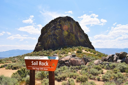Fort Sage OHV Area- Sail RockSign that reads Sail Rock, Fort Sage OHV Area with sail rock behind the sign at the Fort Sage OHV Area.
