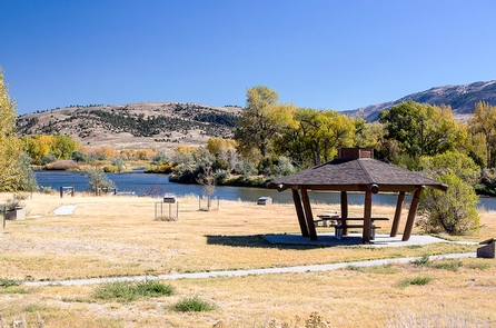 Bessemer BendA gazebo with a picnic table sits next to the North Platte River.