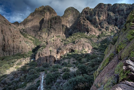 Dripping Springs Natural AreaThe Organ Mountains rise above the Dripping Springs Natural Area.