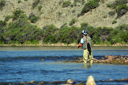North Platte RiverAn angler casts a fishing line into the North Platte River.