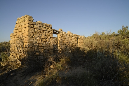 Largo Canyon HomesteadLow angle view of remaining walls of an old homestead.