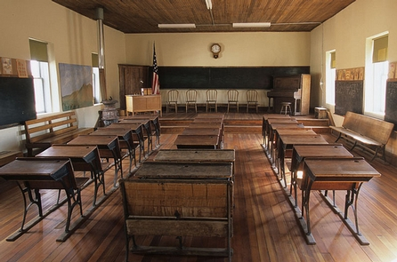 Lake Valley Historic TownsiteRows of  desks in the old Lake Valley Townsite schoolhouse.