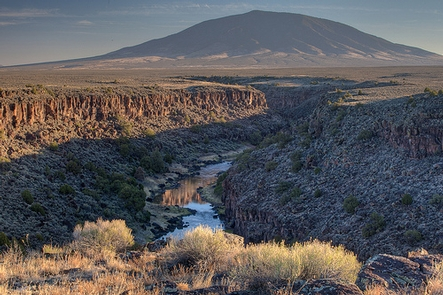 The Rio Grande Gorge with Ute Mountain in the distance.